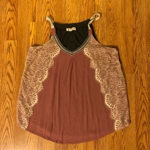 Mauve Tank Top with Cream Lace